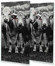 Kühe - Moderne Wanduhr mit Fotodruck auf Leinwand Keilrahmen   Fotouhr Bilderuhr Motivuhr Küchenuhr modern hochwertig Quarz   Variante:30 cm x 60 cm mit weißen Zeigern