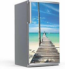 Kühlschrank 60x120 cm Kühlschrankdeko Küche   Dekoration Kühlschrank-Aufkleber Folie Tapete selbstklebend Kühlschrank überkleben   Design Motiv Blue Water