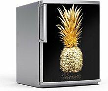 Kühlschrank 60x80 cm Kühlschranksticker Küche   Deko Kühlschrank-Folie Sticker Aufkleber abwaschbar Kühlschrank dekorieren   Design Motiv Goldenes Früchtchen