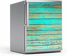 Kühlschrank-Dekosticker 60 x 80 cm   Klebesticker Aufkleber Folie Foto Klebefolie Schöner Wohnen   Muster Ornament Wooden Aqua