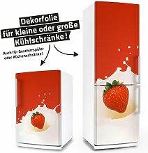 Kühlschrank- & Geschirrspüler-Folie --- Erdbeere in Milch --- Dekorfolie Aufkleber Klebefolie Fron