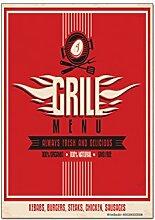 Kühlschrankmagnet Retro Grill-Menü