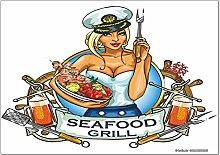 Kühlschrankmagnet Sexy Fun Seafood Grill
