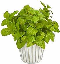 Künstliche Basilikum-Pflanze in weißem Übertopf