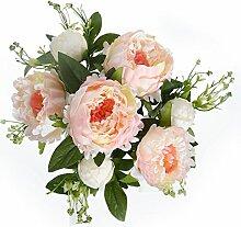 Künstliche Blooming Peony Bouquet Fake Blumen Silk Material Arrangements für Bridal Garten Houseware Hochzeit Party Dekoration champagnerfarben