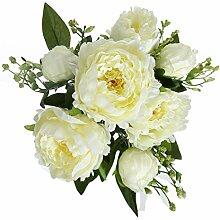 Künstliche Blooming Peony Bouquet Fake Blumen Silk Material Arrangements für Bridal Garten Houseware Hochzeit Party Dekoration weiß