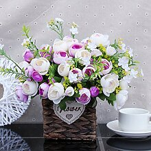 Künstliche Blume Home Einrichtung Handgemachte Stroh-Aufkleber Wohnzimmer Schreibtisch Dekoration Weihnachtsgeschenk In Der Topf Blume, Rosa -33