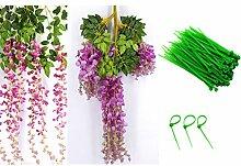 Künstliche Blume, Outgeek 12Pcs Seide Blume Gefälschte Pflanze Lavendel Rebe Home Decor mit 100Pcs Zip Krawatten