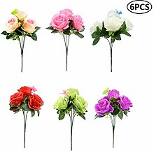 Künstliche Blumen, 5 Kopf, 6 Stück, Kunstblumen,