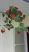 künstliche Blumen Ampel,Geranien 60cm.ro