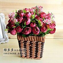 Künstliche Blumen Blumen Floralen Ornamenten Silk Flower Pot Blume Kleinen Garten, Wein Rot - Tuba