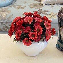 Künstliche Blumen entsprechen europäischen Pastorale Daisy, Heimtextilien dekoratives Blume Silk Möbel Blumen, Höhe 26 cm * Breite 30 cm, rot Rib weißen Topf