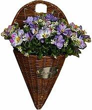 Künstliche Blumen Hängende Korb Fake Blumen mit Korb Kosmos Lila