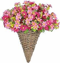 Künstliche Blumen Hanging Korb Fake Blumen mit Korb Daisy Pink
