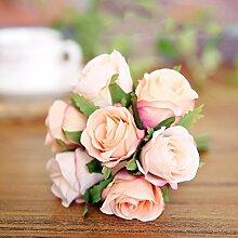 Künstliche Blumen Heimtextilien Dekoratives Blume Braut Holding Blütenkopf Mit 7 Rosen Blumen, Orange Rosa