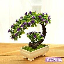 Künstliche Blumen Heimtextilien simulation Blume grün Pflanzen Blumen bonsai Pot set Dekoration Tisch Wein Zubehör, Pinus Crescent lila