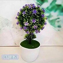 Künstliche Blumen Heimtextilien simulation Blume grün Pflanzen Blumen bonsai Pot set Dekoration Tisch Wein Zubehör, kleine Knospe blau