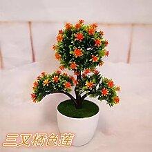 Künstliche Blumen Heimtextilien simulation Blume grün Pflanzen Blumen bonsai Pot set Dekoration Tisch Wein Zubehör, Tri - Pinus Orangen