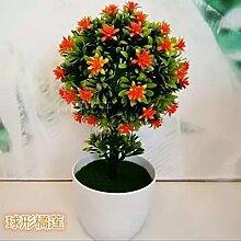 Künstliche Blumen Heimtextilien simulation Blume grün Pflanzen Blumen bonsai pot Ausstattung Zimmer Wein Zubehör, Kleine Kugel orange