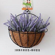 Künstliche Blumen Körbe an der Wand hängende Wand hängenden Anhänger Floral Simulation Blumen Korb Pflanze Wand, Lavendel Lila