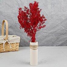 Künstliche Blumen Reed Zubehör Getrocknete Blumen Diy-Shooting Requisiten Wohnzimmer Tisch Schreibtisch Dekorative Blumen, Rot Einzige Zweigstelle