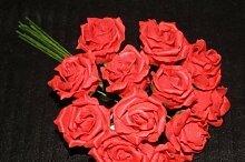 Künstliche Blumen Rosen Mini Rot Schaum 12 Stück (936) Luxus Blumen Hochzei