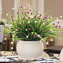 Künstliche Blumen, Vase + Fake Blumen Seide Kunststoff Künstliche Rosen Brautschmuck Hochzeit Bouquet für Home Garden Party Hochzeit Dekoration, 024