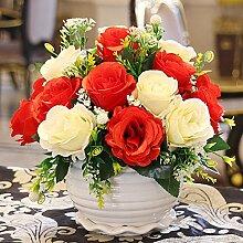 Künstliche Blumen, Vase + Fake Blumen Seide Kunststoff Künstliche Rosen Brautschmuck Hochzeit Bouquet für Home Garden Party Hochzeit Dekoration, 033