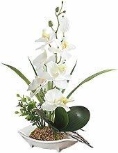 Künstliche Bonsai-Orchidee im Topf weiß
