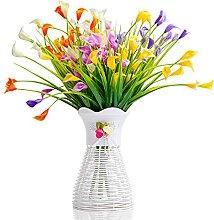 Künstliche Calla-Lilie, grüne Blätter und