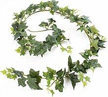 Künstliche Efeu Girlande ELENA, 171 Blätter, grün, 180 cm - Efeu künstlich / Efeu Dekoration - artplants