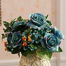 Künstliche Fake Blumen Dekoration Esstisch Home Zubehör Blumen Rose blau -Ktfactory