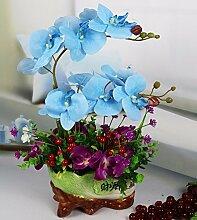Künstliche Fake Blumen Dekoration Esstisch Home Zubehör Blue Orchid -Ktfactory