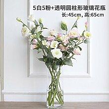 Künstliche Fake Blumen Dekoration Esstisch Home Zubehör Bonsai Kit silk Blume weiß rosa -Ktfactory