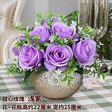 Künstliche Fake Blumen Dekoration Esstisch Home Zubehör Esstisch Kunststoff Rose Lila -Ktfactory