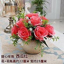 Künstliche Fake Blumen Dekoration Esstisch Home Zubehör Esstisch Kunststoff Rose Rot -Ktfactory