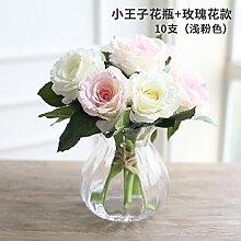 Künstliche Fake Blumen Dekoration Esstisch Home Zubehör Glas Blumen Kit Weiß Rosa Rose -Ktfactory