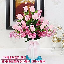 Künstliche Fake Blumen Dekoration Esstisch Home Zubehör Kit Kunststoff Rose Blume rosa Seide -Ktfactory
