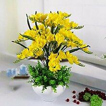Künstliche Fake Blumen Dekoration Esstisch Home Zubehör Kit Lily Gelb -Ktfactory