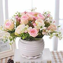 Künstliche Fake Blumen Dekoration Esstisch Home Zubehör Kit silk Blume rosa Rose -Ktfactory