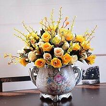 Künstliche Fake Blumen Dekoration Esstisch Home Zubehör Kunststoff silk Blume Orange -Ktfactory