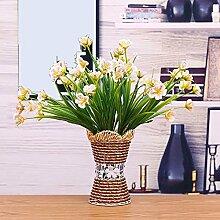 Künstliche Fake Blumen Dekoration Esstisch Home Zubehör Kunststoff Rose Gelb -Ktfactory
