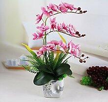 Künstliche Fake Blumen Dekoration Esstisch Home Zubehör Orchidee Kit Kunststoff Rosa -Ktfactory