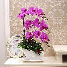 Künstliche Fake Blumen Dekoration Esstisch Home Zubehör Orchid Suite Violett -Ktfactory