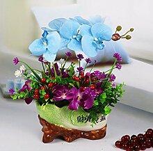 Künstliche Fake Blumen Dekoration Esstisch Home Zubehör Orchidee Set blau -Ktfactory