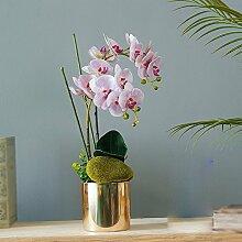 Künstliche Fake Blumen Dekoration Esstisch Home Zubehör Orchidee verpackt Kunststoff Pink Große -Ktfactory