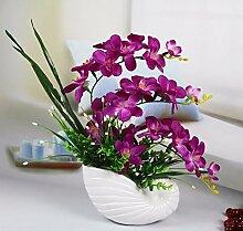 Künstliche Fake Blumen Dekoration Esstisch Home Zubehör Orchidee Set Lila -Ktfactory
