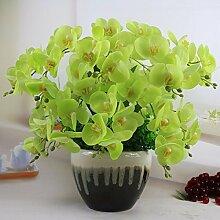 Künstliche Fake Blumen Dekoration Esstisch Home Zubehör Orchidee Set Grün -Ktfactory