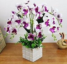 Künstliche Fake Blumen Dekoration Esstisch Home Zubehör Purple Orchid -Ktfactory