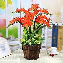 Künstliche Fake Blumen Dekoration Esstisch Home Zubehör Retro Style Esstisch Holz- Orchidee Orange -Ktfactory